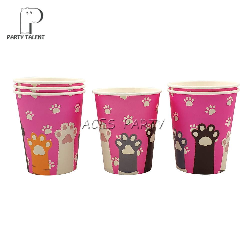 Image 2 - Party supplies 48pcs pet cat footprint party kids birthday party tableware set, 24pcs dessert plates dishes + 24pcs cups glasses-in Disposable Party Tableware from Home & Garden