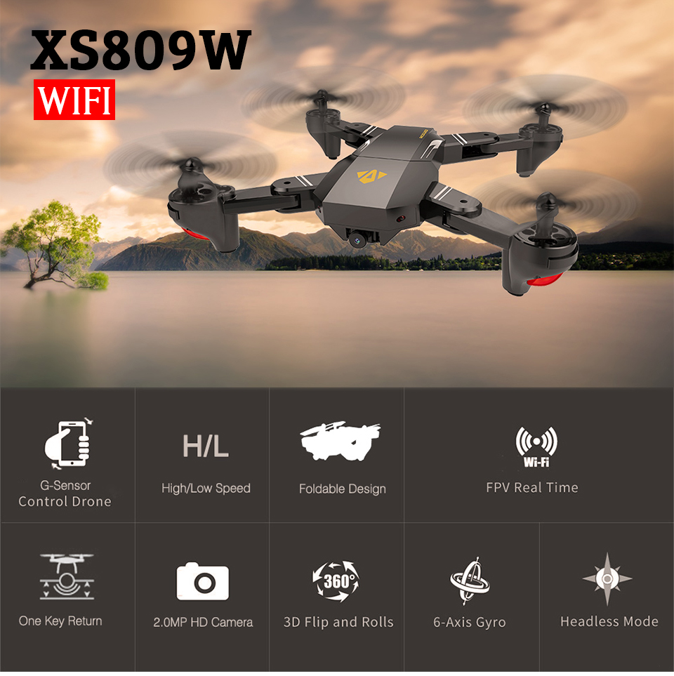 2017 Newest VISUO XS809W XS809HW FPV Fold RC Quadcopter 2 4G 4CH 6 Axis RTF RC