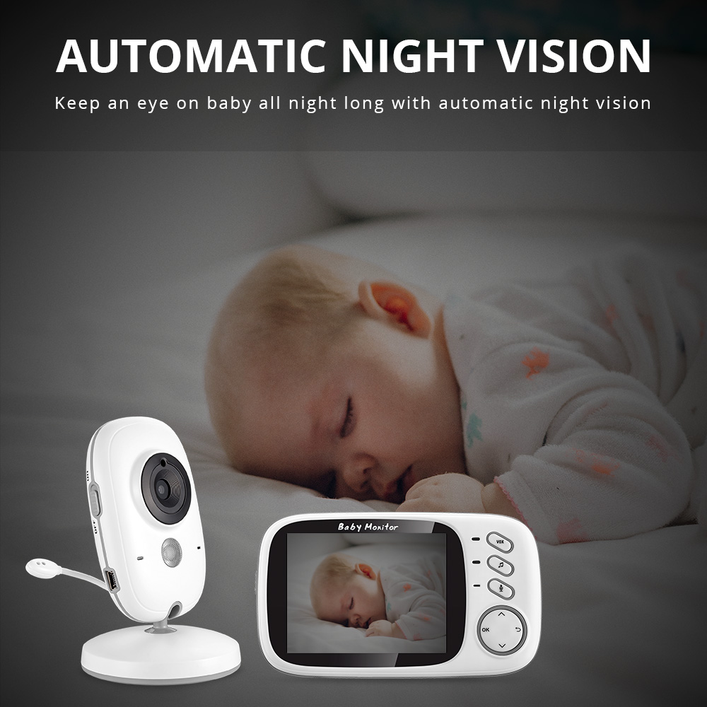 Image 4 - VB603 Wireless Video Color Baby Monitor 3.2 Inch High Resolution Night Vision Temperature Monitoring Baby Nanny Security Camera-in Baby Monitors from Security & Protection
