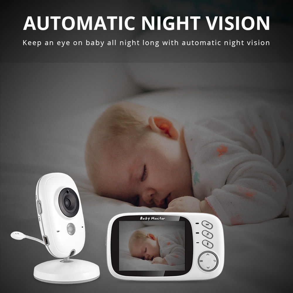 VB603 Wireless Video Color Baby Monitor 3.2 Inch High Resolution Night Vision Temperature Monitoring Baby Nanny Security Camera