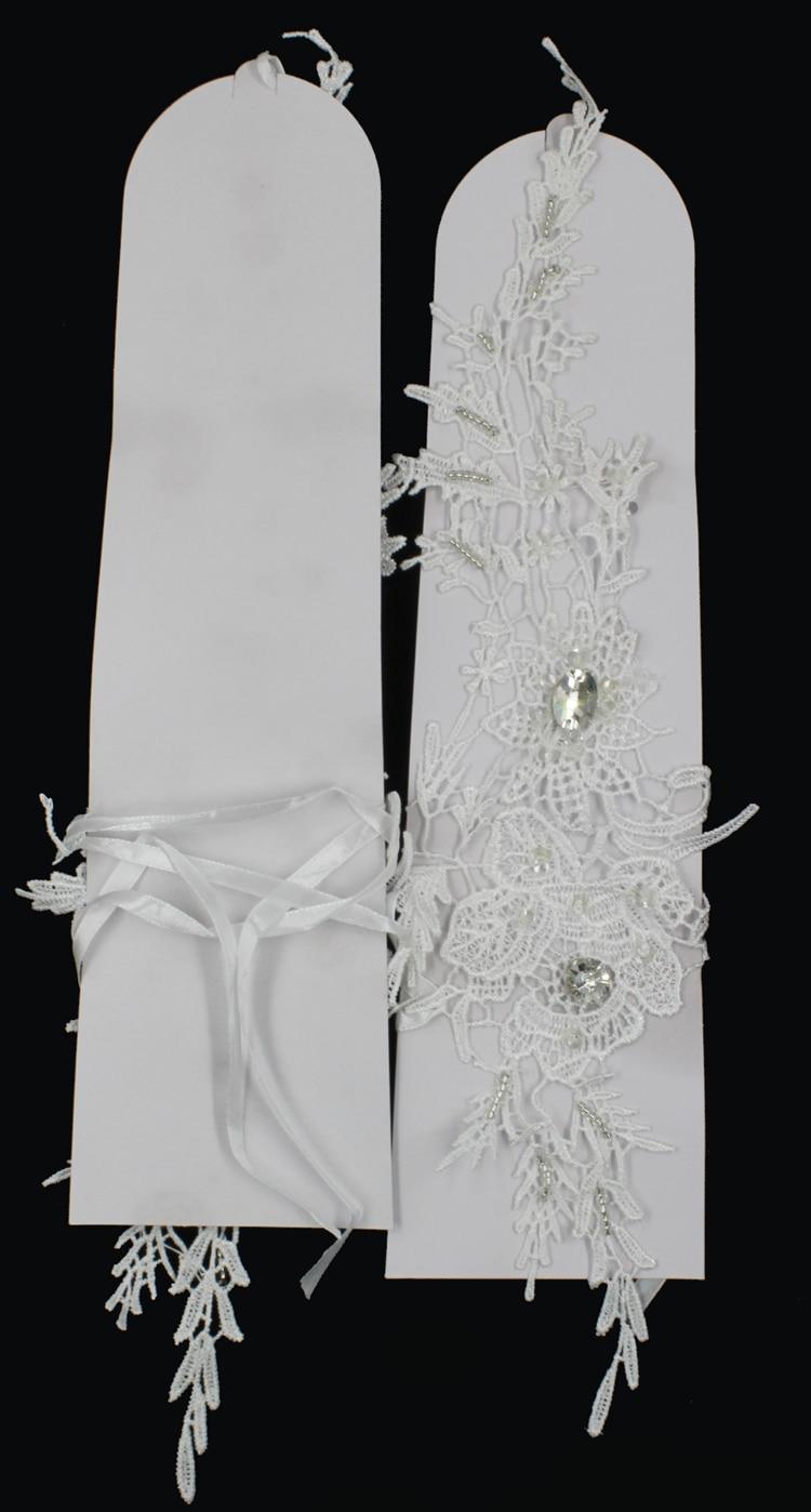 ZUOYITING New Luxury White Lace Prinsessan Brudhandskar Med Beaded - Bröllopstillbehör - Foto 3