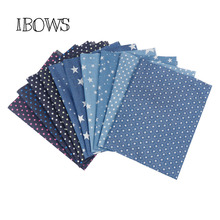 40CM*50CM Soft Cotton Denim Fabric Stars Printed Blue Black Material DIY Baby Clothes Skirt Sewing Quilt Patchwork