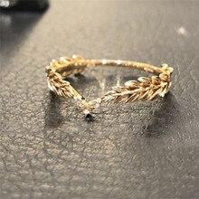 ROMAD пшеничные кольца, Золотое кольцо на палец для женщин, символ мира, вечерние кольца, Женские Ювелирные изделия с растениями, bijoux femme R3