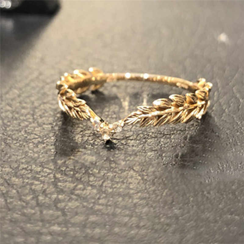 ROMAD Wheat Rings Golden Finger Ring for Women Peace Symbol Party Rings Female Plant Jewelry bijoux femme R3