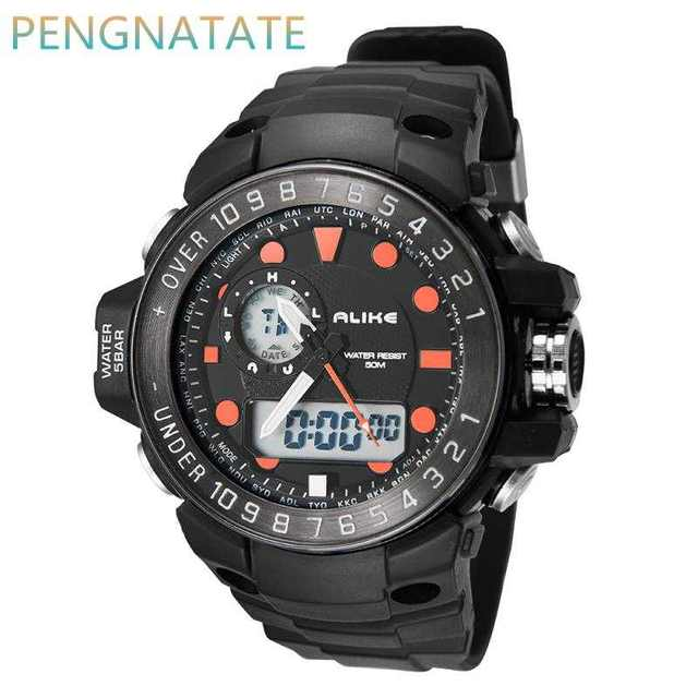 Alike Brand Men LED Digital Military Watch 50M Dive Swim Dress Analog Men Sports Watches Fashion Quartz Wristwatches PENGNATATE