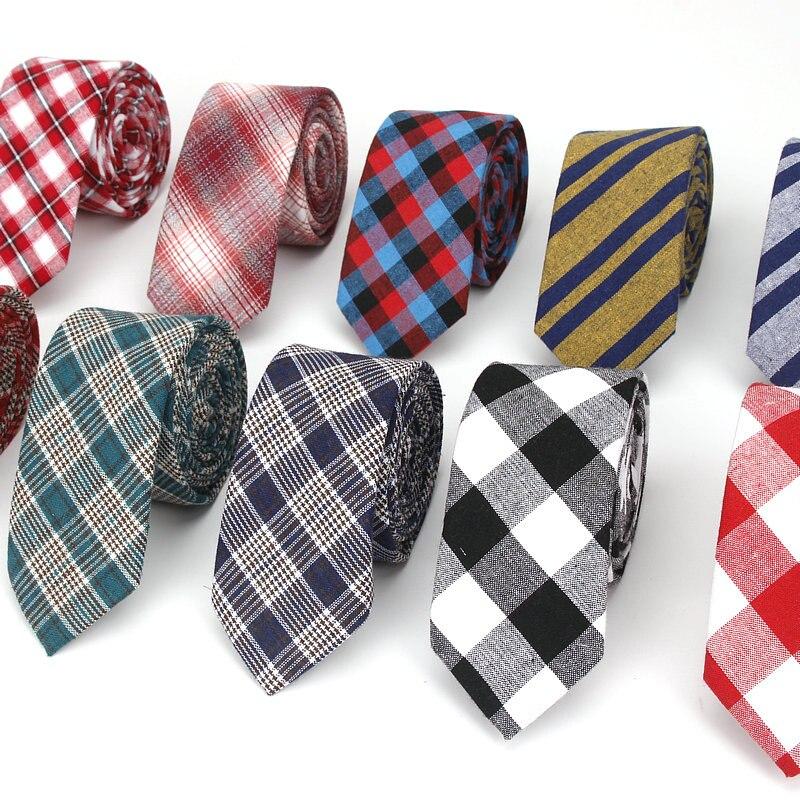 Fashion Cotton Stripe Ties For Men Casual Plaid Necktie Gravatas Corbatas Slim Suit Vestidos Mens Neckties Party Narrow Neck Tie