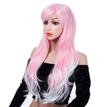 "DIFEI Women's 24"" Long Straight Hair Wig Pink Mixed White Heat Resistant Synthetic Two-color Wig(China)"