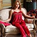 Entrega gratuita 2016 Novos Pijamas De Seda Das Mulheres Pijamas para As Mulheres Spaghetti Strap Pijamas Mulheres Sleepwear Pijamas De Seda Três-piece