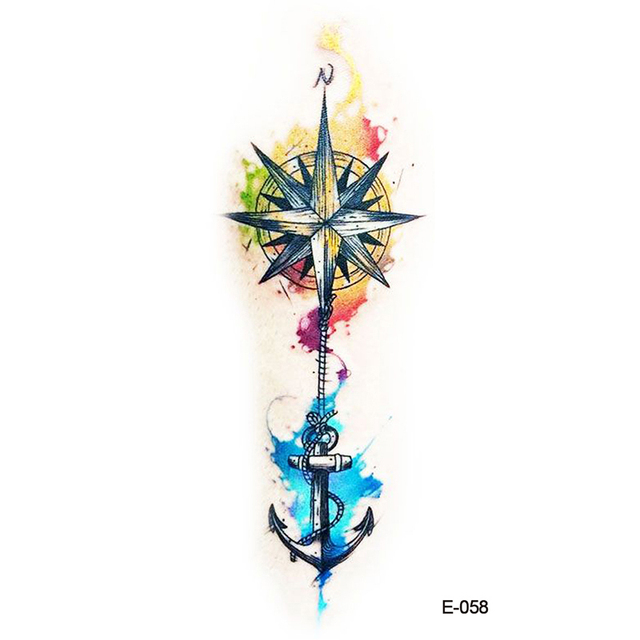 Wyuen Nuevo Diseño Brújula Ancla Falso Tatuaje Temporal Brazo