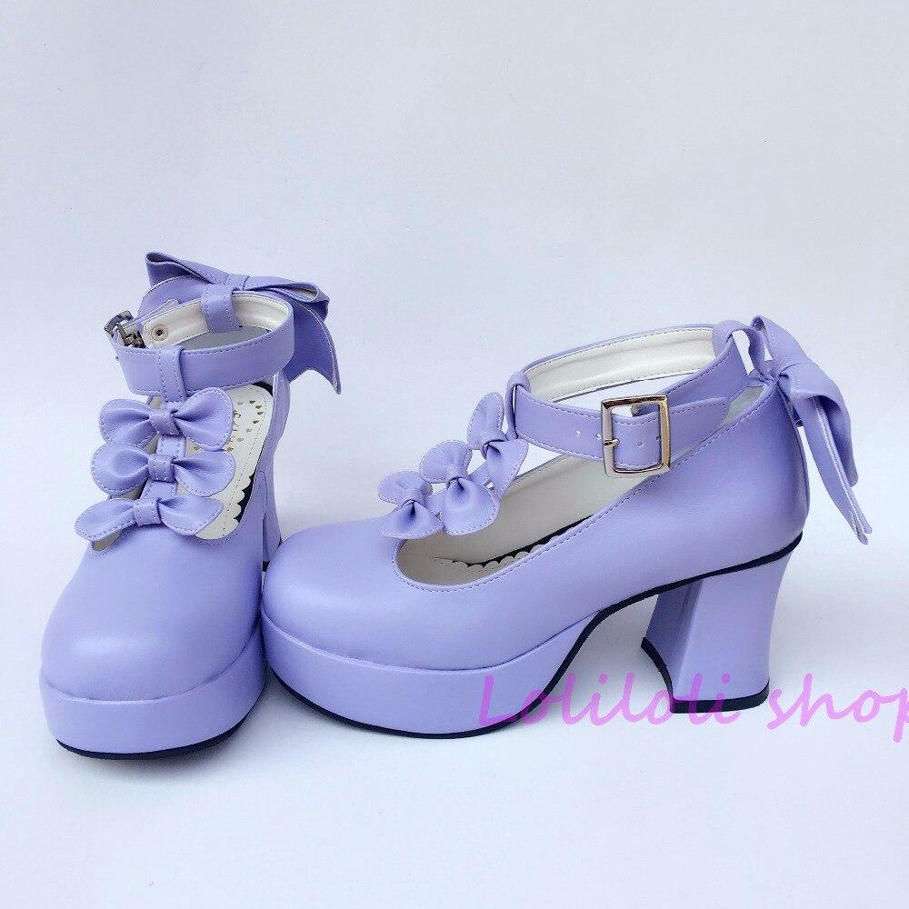 Princess sweet lolita shoes Japanese design customized special shaped purple bow tie chunky heel shoes sandals 6640 harajuku sweet lolita cosplay chunky high heel shoes rhinestone bow princess shoes