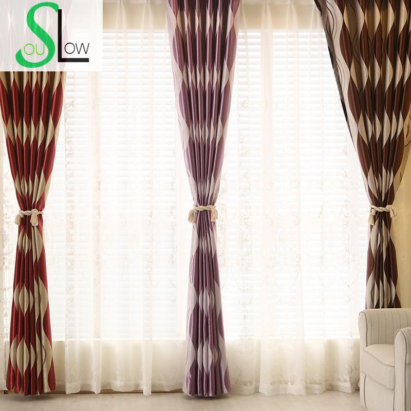 Slow Soul Coffee Color Red Silver Grey Purple Jacquard Curtains Curtain French Window For Living Room Tulle Kitchen Bedroom