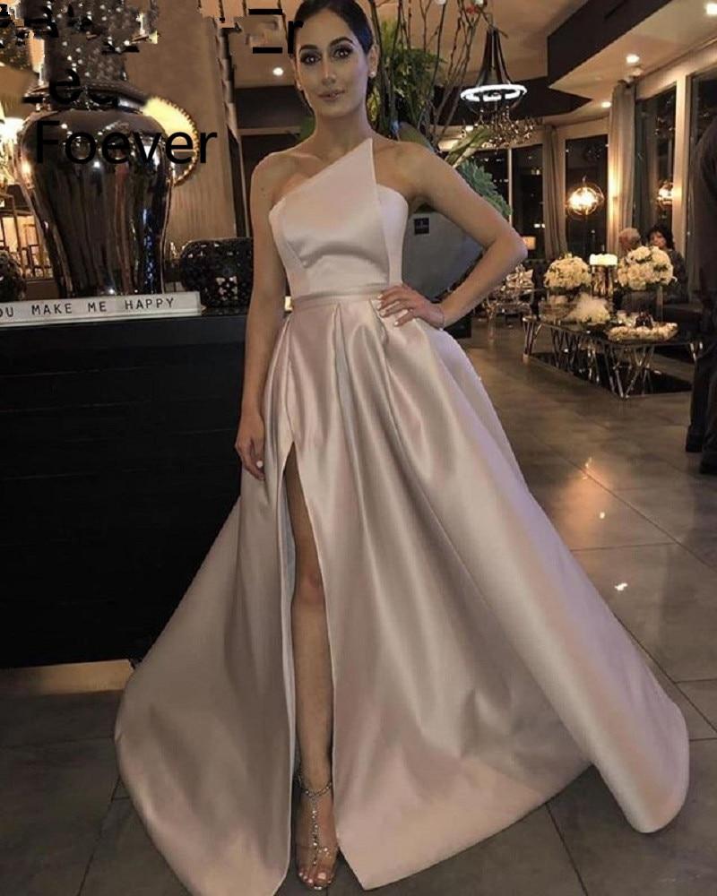 Elegant Prom Dress 2019 A Line Satin Off the Shoulder High Leg Slit Dubai Saudi Arabic
