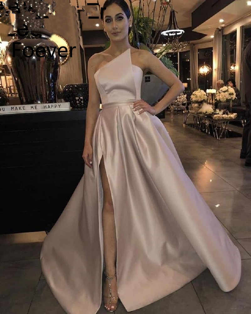 Elegant Prom Dress 2019 A-Line Satin Off the Shoulder High Leg Slit Dubai Saudi Arabic Long Evening Gown