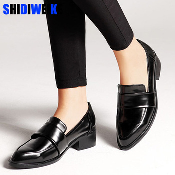 women dress shoes oxford shoes formal work footwear black flats slip-on retro shoes leather women shoes Loafers g140