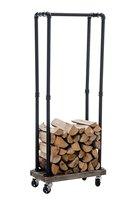 Metal firewood rack FORKS log rack with casters Black matchstick rack Floor Type Timber stacking Storage Holders Racks
