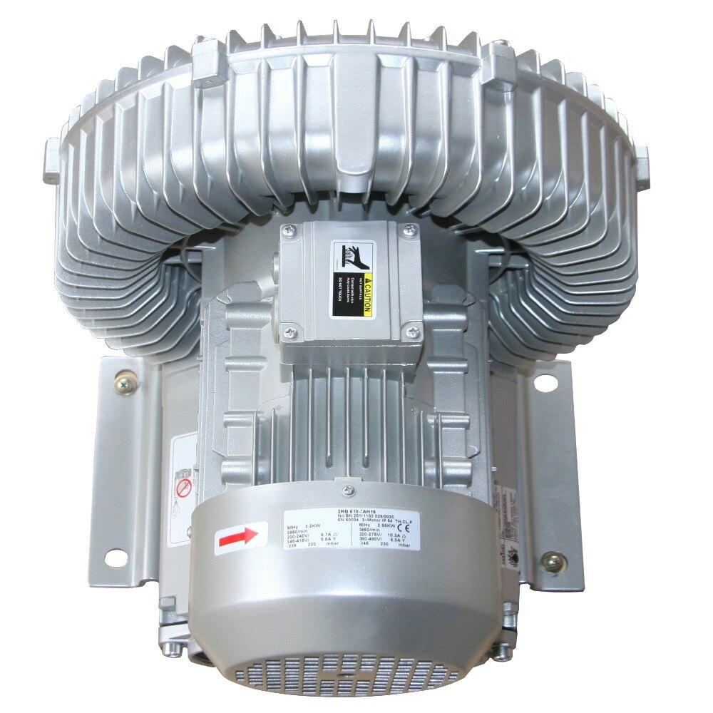 2RB630-7AH26 3KW/3.45KW fluxo de ar de alta pressão anel blower bomba de ar/bomba de vácuo/bomba regenerativa blower piscicultura industrial fábrica