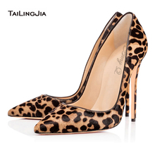 2016 Sexy Women Leopard Horsehair Pointy Evening Dress Pumps Real Leather High Heels Stiletto Ladies Party Shoes Handmade