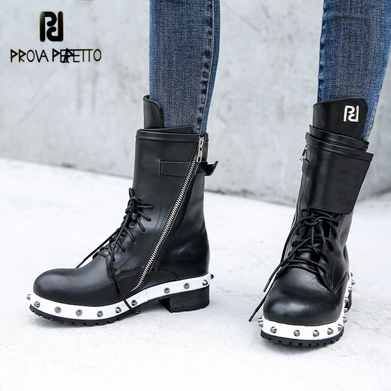 Prova Perfetto Black Ankle Boots for Women Rivets Studded Flat Autumn Botas Mujer Genuine Leather Platform Rubber Martin Boots giovanni sonetto