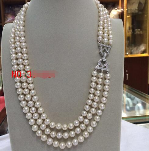 Beautiful 3 rows AAA 7-8mm Round White Cultured Freshwater Pearl Necklace>>> women jewerly Free shipping free shipping hot sale jewelry 3 rows oval white black pearl necklace