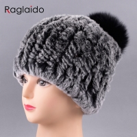 Raglaido Fur Hat Rabbit Rex Women S Beanies Handknitted Elastic Real Fur Hat Pompom Caps Soild