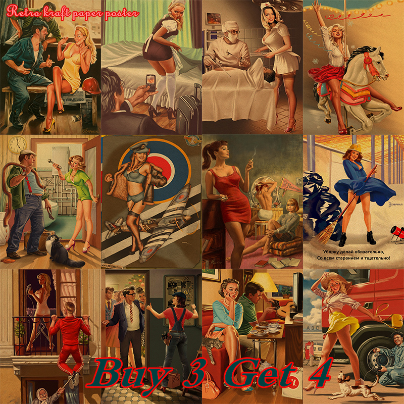 World War II PINUP GIRLS Classic Retro Kraft Paper Poster Sexy Girl Decorative Painting Military Bar Cafe Home Room Decorb