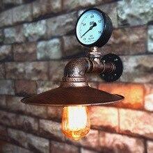 Retro Vintage de pared de hierro forjado lámpara Loft estilo americano de la tubería de agua lámpara de pared de habitación Aisel luces lámpara E27