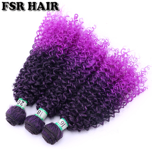 Image 4 - Black to Purple afro Kinky Curly hair weave synthetic hair extensions Ombre hair bundle