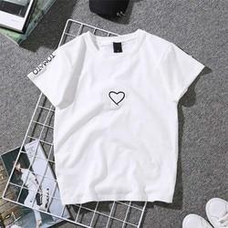 2019 Summer Couples Lovers T-Shirt for Women Casual White Tops Tshirt Women T Shirt Love Heart Embroidery Print T-Shirt Female 3