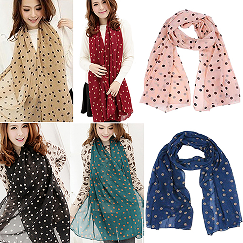 women's Dots Print   scarves   Soft Cotton Long Soft shawls Neck Shawl   Scarves   Beach   Wrap   around the neck