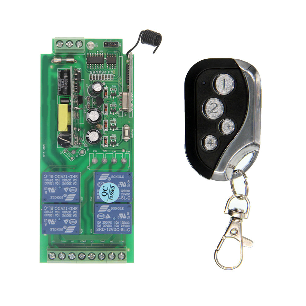 AC85V~250V 110V 220V 230V 4CH 4 CH 10A Wireless Remote Control Switch Relay Output Radio RF Transmitter Receiver wireless rf remote control light switch 10a relay output radio ac 220v 110v 1 ch channel 1ch receiver module transmitter