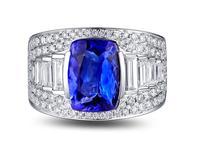 3,1 карат кольцо из стерлингового серебра 925 Танзанит кольцо с бриллиантом ювелирные изделия Модные сапфир обручальное кольцо (см)