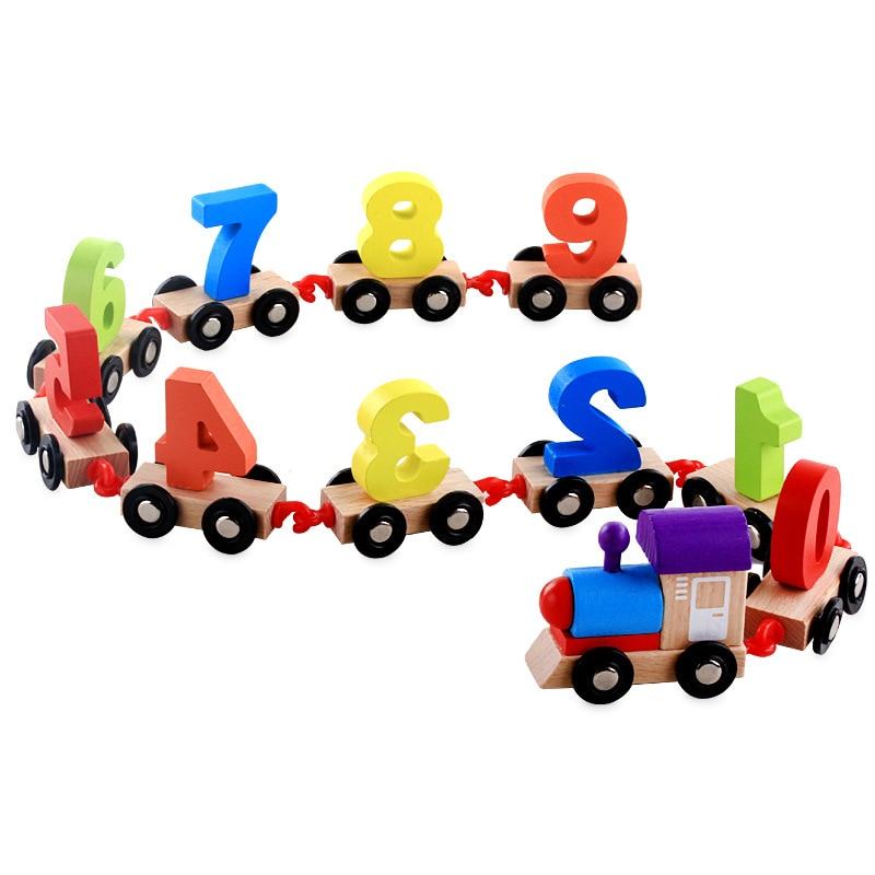 Новые деревянные игрушки набор строительных цифрового поезда головоломка сборки Цвет деревянный Джампер головоломки Игрушечные лошадки п...