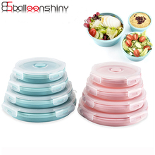 BalleenShiny 4pcs set Round Silicone Folding Portable Bento Box Collapsible Lunch for Food Microwave Storage Container
