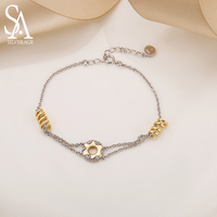 SA SILVERAGE 925 Sterling Silver Donut Bracelets & Bangles Women AAA Zirconia 925 Sterling Silver 18K Gold Color Bracelet 2019