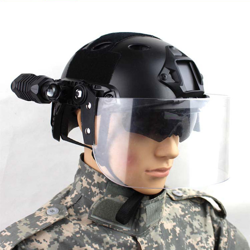 Image 4 - Outdoor Tactical Fast MICH AF Helmet Vintage Durable Windscreen  Anti Riot Lens Guide Rail Connected Mask CS Face Protective  lensHelmets