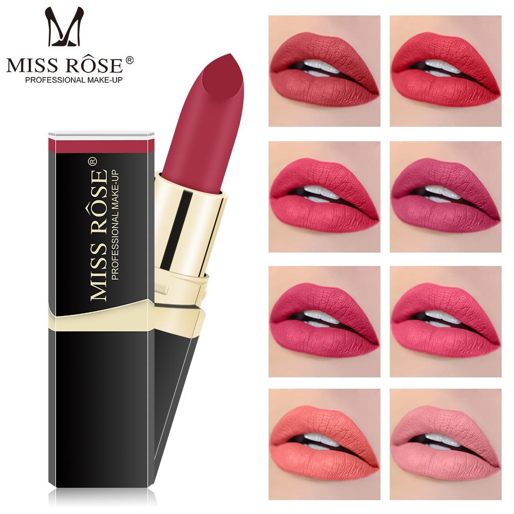 Miss Rose pintalabios mate, cosmético, resistente al agua, larga duración, pigmento de terciopelo, Sexy, labios rojos, mate, Nude, nuevo TSLM1|Pintalabios| - AliExpress