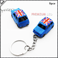 5pcs Blue 1:60 Classic Union Jack MINI Cooper Diecast Key Chain Key Ring Keychain