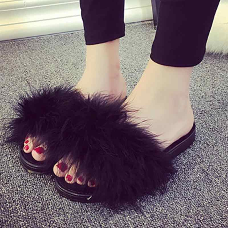 b11e6b54d4b08f ... Furry Feather Slippers Women Fur Slides Mules Female Ladies Home Indoor  Slippers Soft Chaussures Zapatos Mujer ...