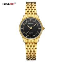 Longbo ماركة رخيصة جدا الهدايا ووتش للمرأة السيدات الساعات سوار الذهب الفضة المقاوم للصدأ الظهر uhren دامن 80280