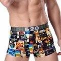 Marca sexy underwear hombres cortocircuitos de los boxeadores cueca ice seda u bolsa convexa impresa underpant male calzoncillos marca más el tamaño l-3xl