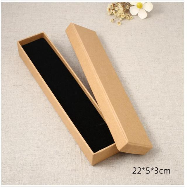 Us 36 13 9 Off 20pcs 22x5x3cm Long Kraft Paper Jewelry Box Necklace Box Black Gift Boxes Jewelry Packaging Display With Sponge Box Custom Logo In