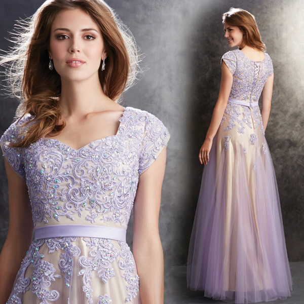 a-line lace appliques beading short sleeves 2018 new arrival formal gown robe de soiree vestido de festa   bridesmaid     dresses