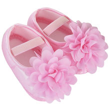 Children's Shoes Slippers Booties Toddler Kid Baby Girl Chiffon Big Flower Elastic Band Newborn Walking Shoes Footwear(China)