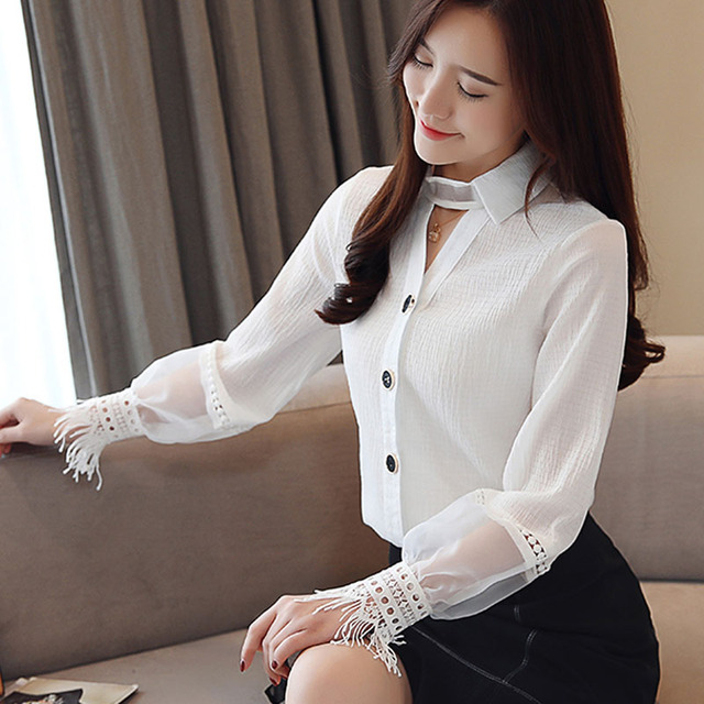 Spring 2019 New Style Long Sleeve women blouses Chiffon shirt lace V-neck shirt woman white blouse causal ladies tops 1891 50 5