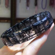 Top Quality Natural Black Rutilated Quartz Crystal Men Big Rectangle Beads Wealthy Stone 14x10mm Bracelet From Brazil AAAAA