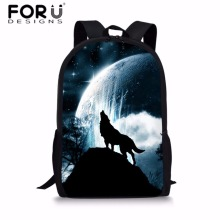 FORUDESIGNS Children 3D Animal Printing School Bags for Kids Cool Wolf Pattern Backpack Boys Shoulder Bookbag