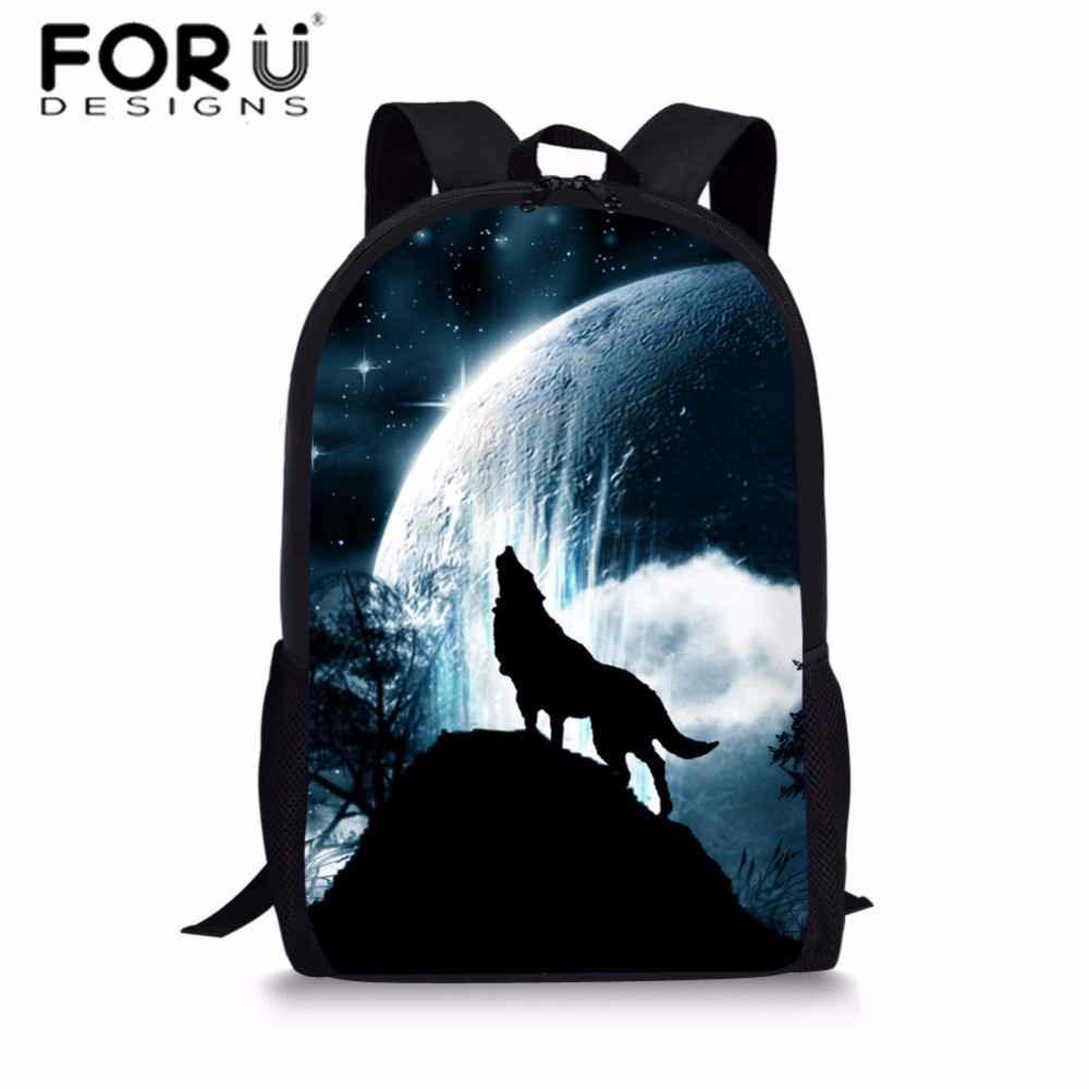 FORUDESIGNS Children 3D Animal Printing School Bags for Kids Cool Wolf Pattern School Ba ...