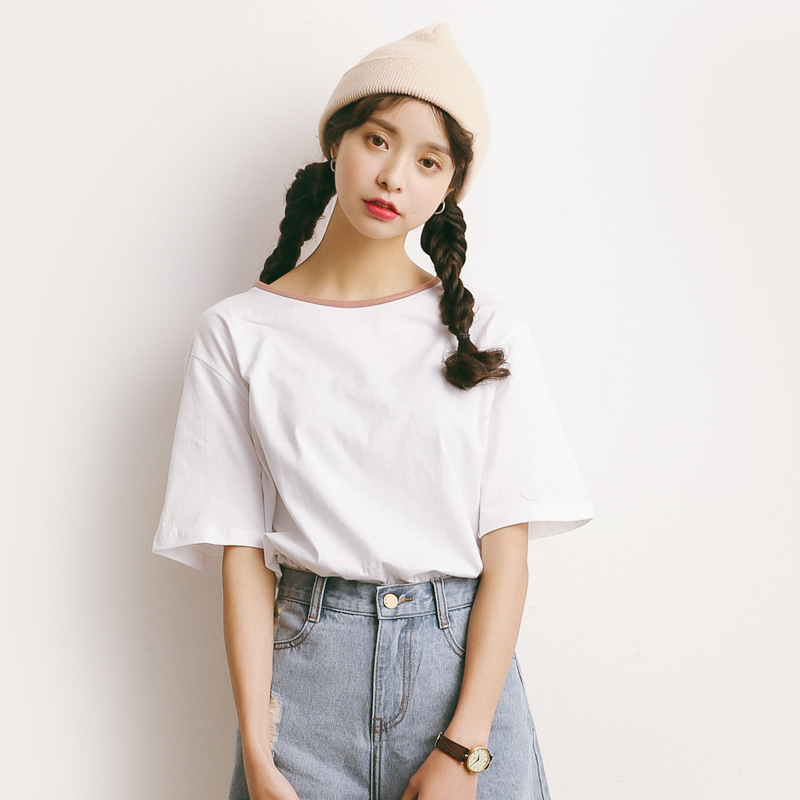 t-shirt Wome Top Summer New Original Cotton Half Sleeve T-Shirts Loose Big Short Sleeve Loose Big Short O-Neck Casual Tops A597