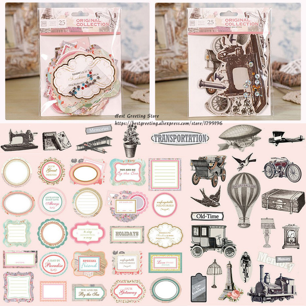 Old Time Transportation Vintage Cardstock Die Cuts, retro geprinte scrapbook tag, titels diy scrapbooking cardstock pack