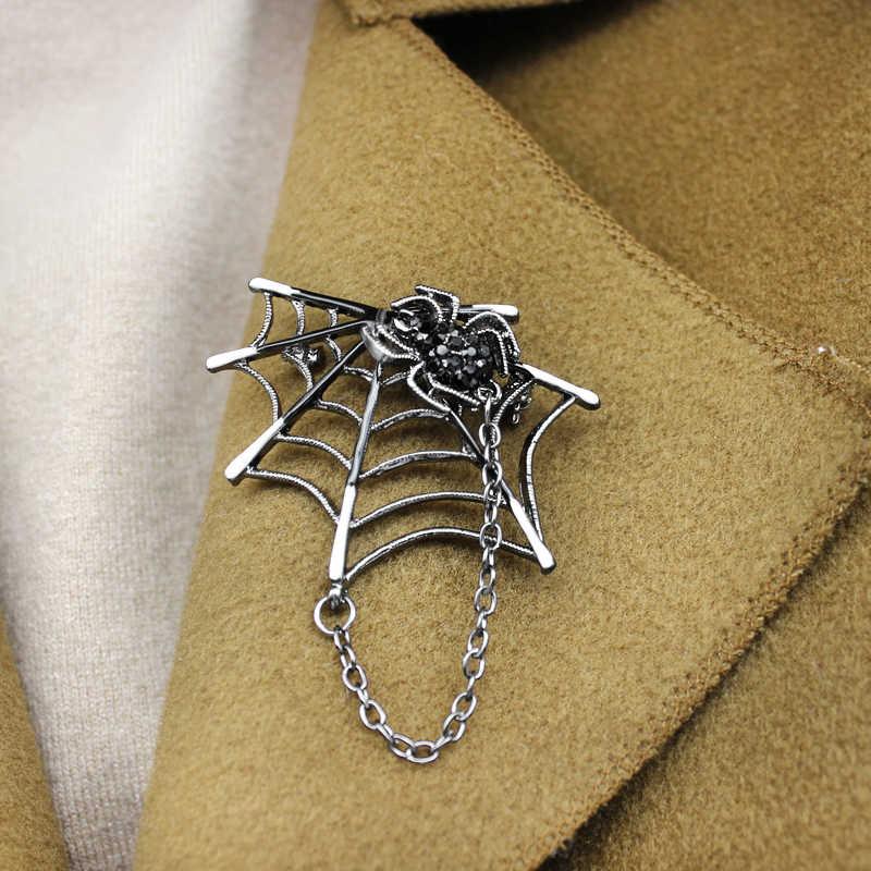レトロ黒クモのブローチ男性のスーツの襟ピンスタッド蜘蛛昆虫チェーンファッションピン中立コートニットアクセサリー